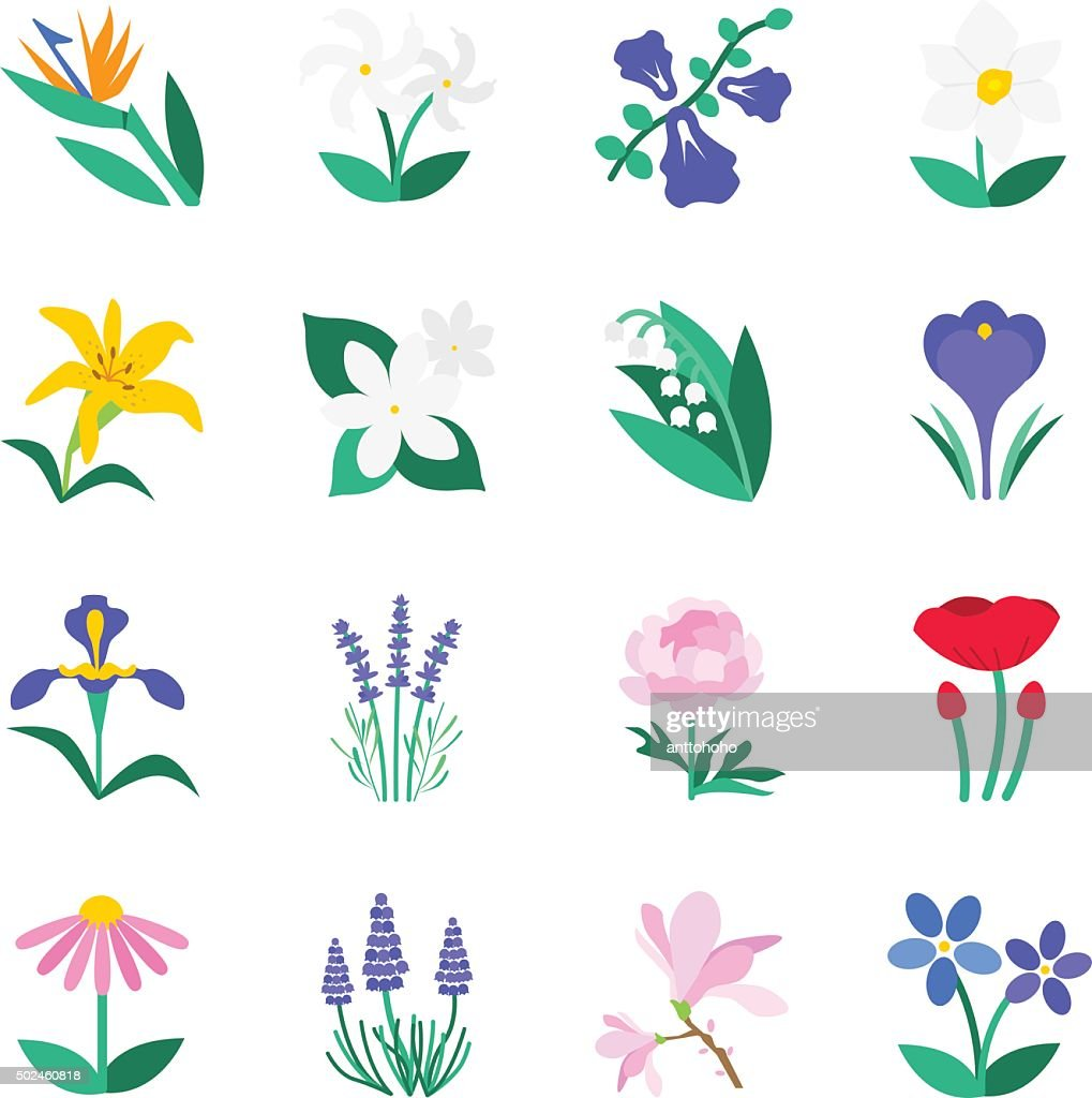 Famous Flower icons Set 2