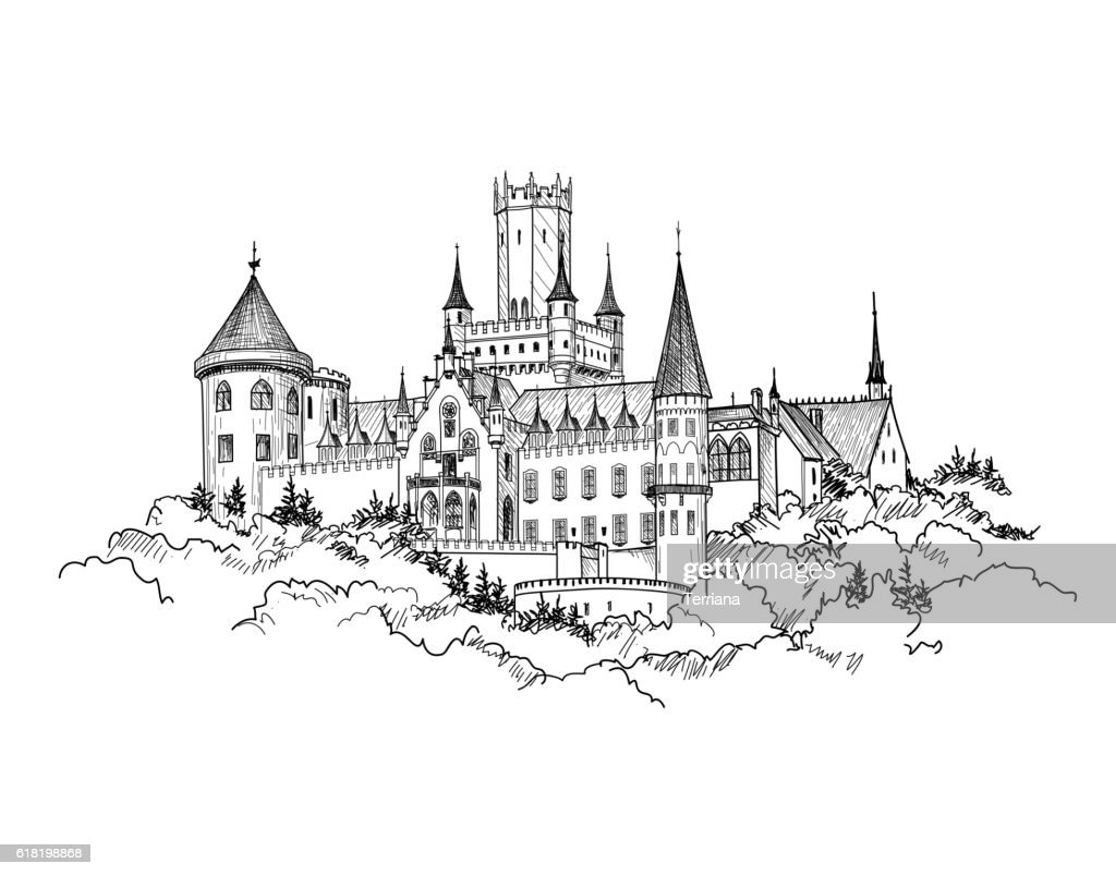 Famous German Castle Landscape. Travel Germany Background. Tower Building skyline.