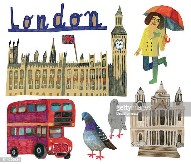 英国ロンドンの有名なランドマーク - テムズ川点のイラスト素材/クリップアート素材/マンガ素材/アイコン素材