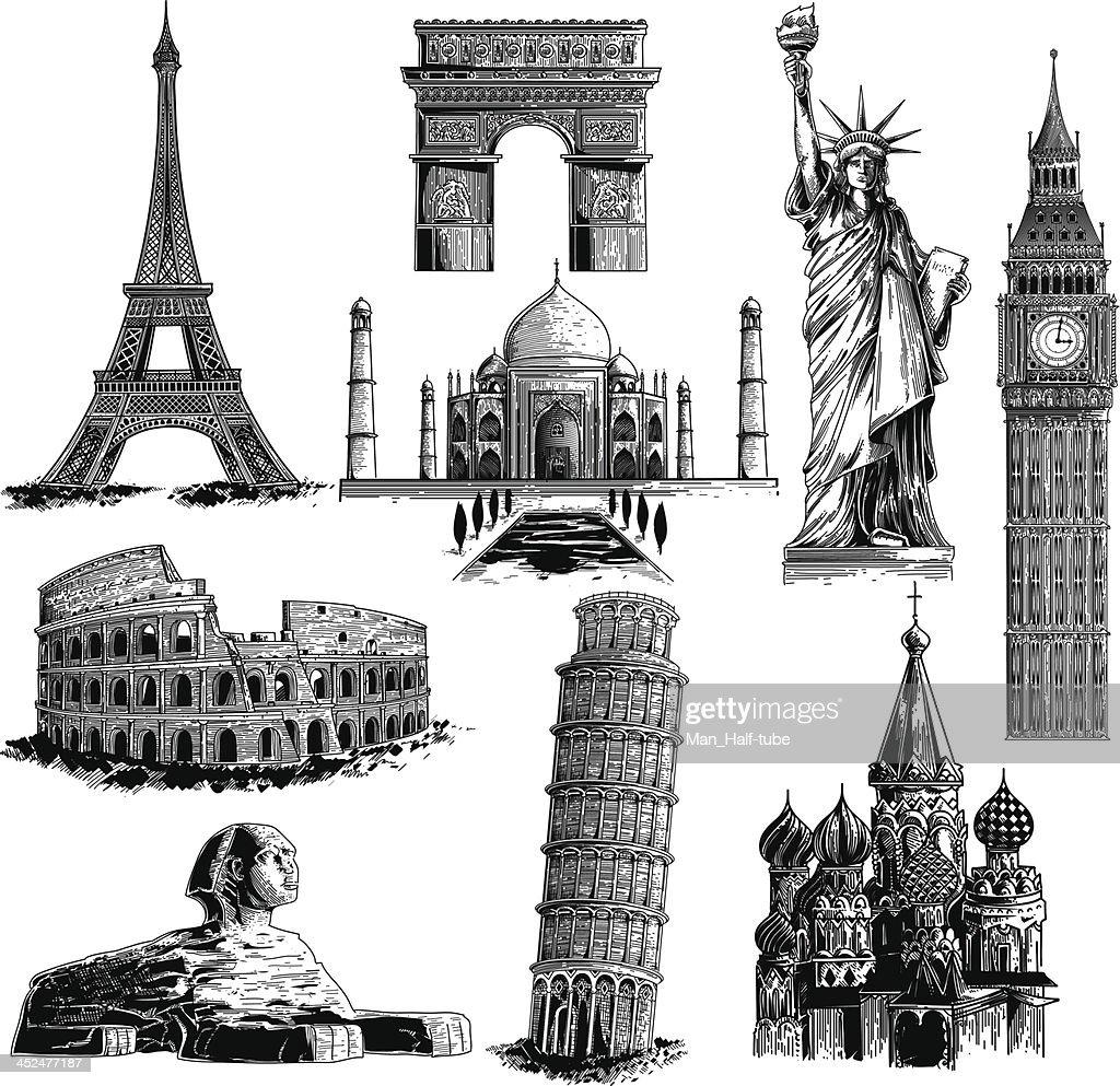 Famous landmarks : stock illustration