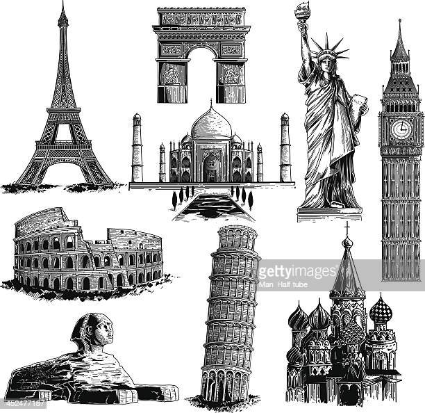 famous landmarks - woodcut stock illustrations