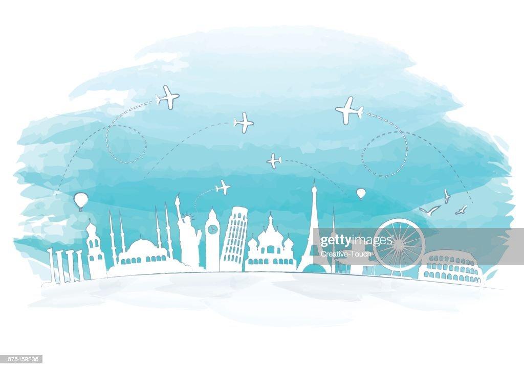 Famous Landmarks Watercolor Concept : stock illustration