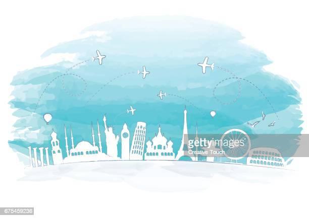 ilustrações, clipart, desenhos animados e ícones de conceito de aquarela de monumentos famosos - destino turístico