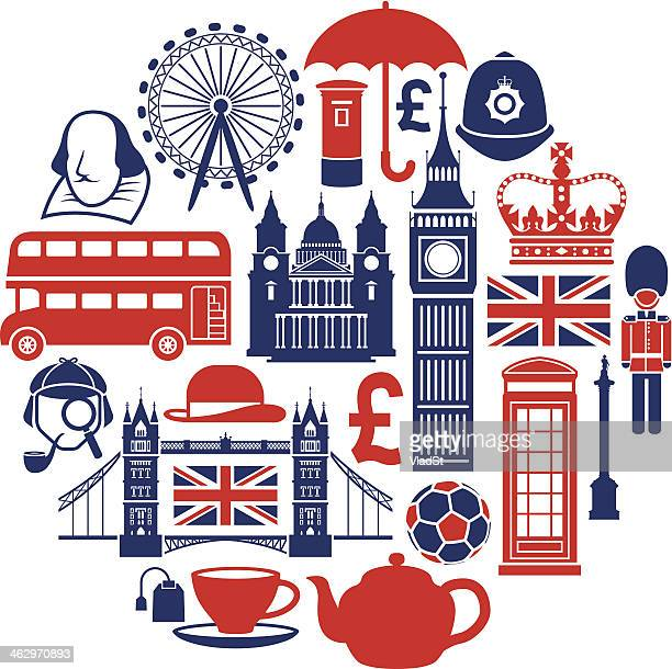 famous london icons - british culture stock illustrations