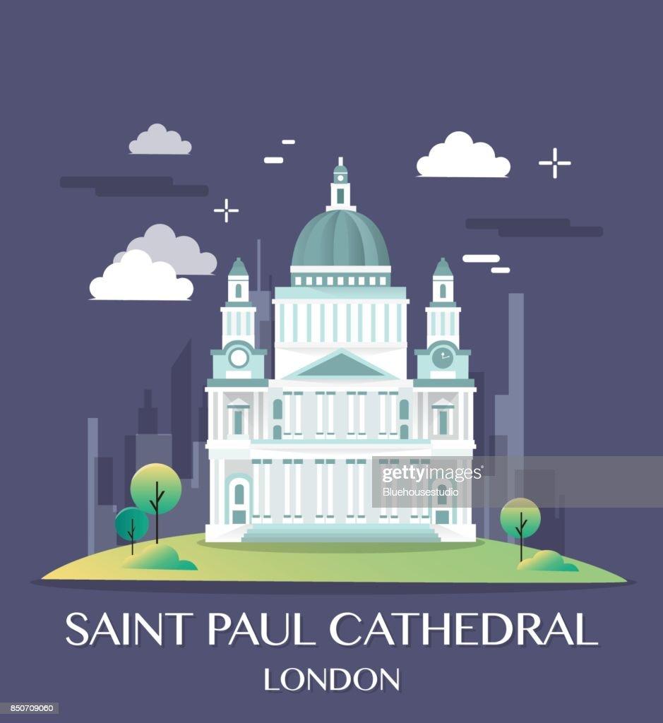 Famous London Landmark Saint Paul Illustration.