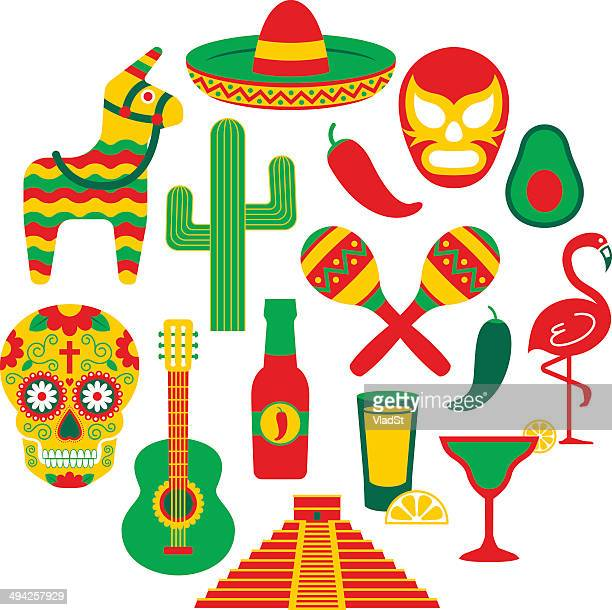 famous mexican icons - mexican food stock illustrations, clip art, cartoons, & icons