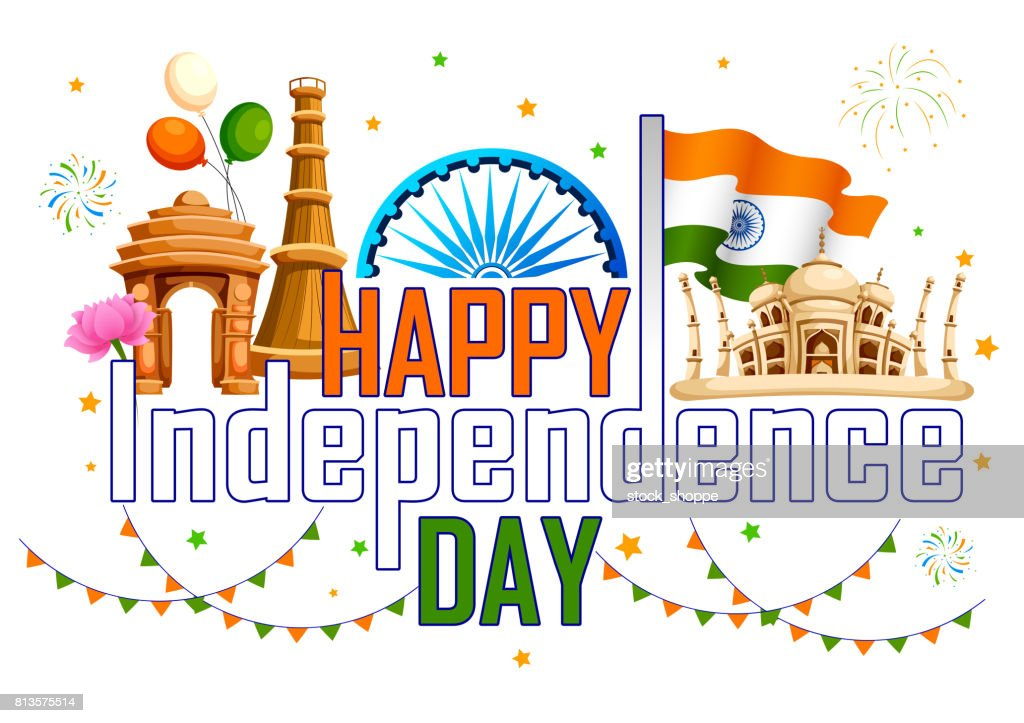 Famous monument of India in Indian background for Happy Independence Day