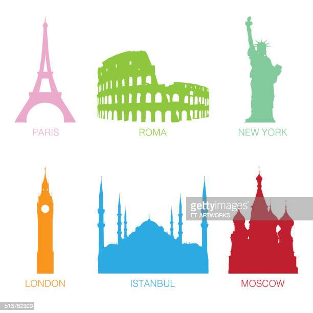 famous monuments - red square stock illustrations, clip art, cartoons, & icons