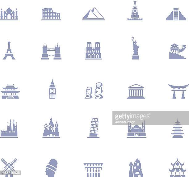 famous place icon set - leaning tower of pisa stock illustrations, clip art, cartoons, & icons