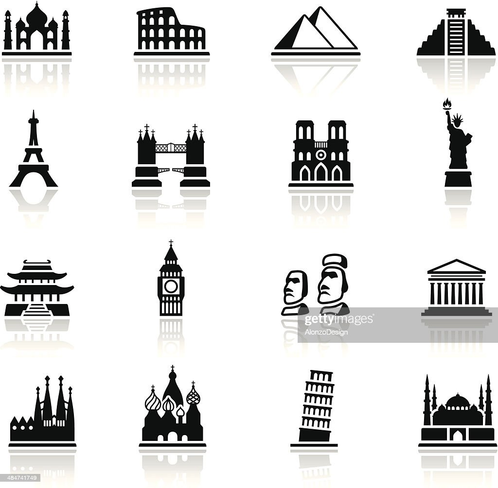 Famous Place Icon Set : stock illustration
