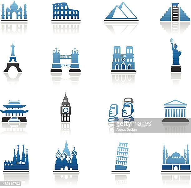 famous place icon set - easter island stock illustrations, clip art, cartoons, & icons