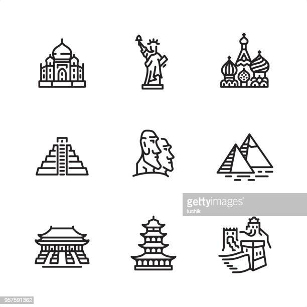 famous place - pixel perfect outline icons - pagoda stock illustrations, clip art, cartoons, & icons