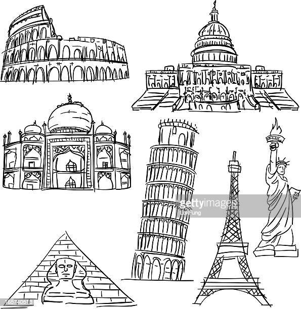 famous scenic spots collection - leaning tower of pisa stock illustrations, clip art, cartoons, & icons