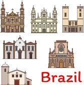 Famous travel landmark of Brazil thin line icon
