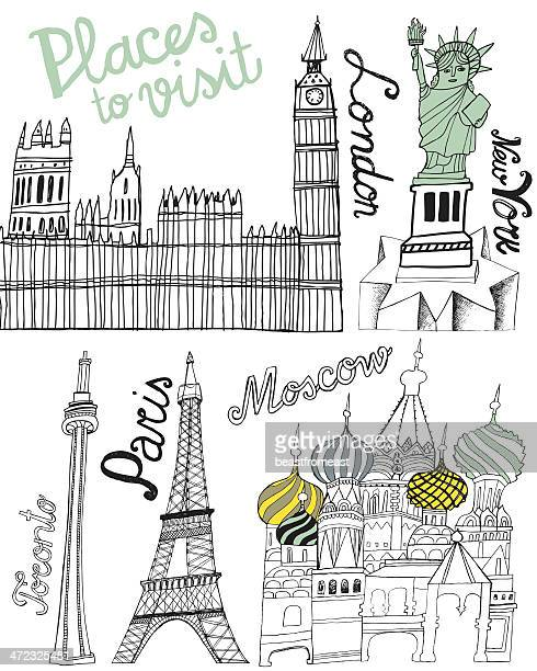 famous world landmarks: big ben, eiffel tower, statue of liberty - red square stock illustrations, clip art, cartoons, & icons