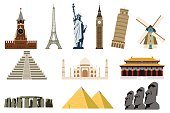 Famous World Landmarks. Travel and Tourism. Vector Illustration