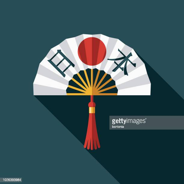 fan flat design japan icon - japanese flag stock illustrations, clip art, cartoons, & icons