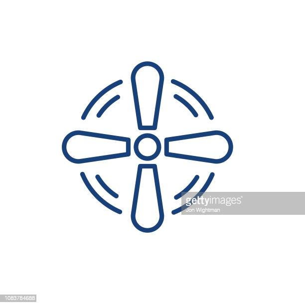 fan smart home thin line icon - electric fan stock illustrations