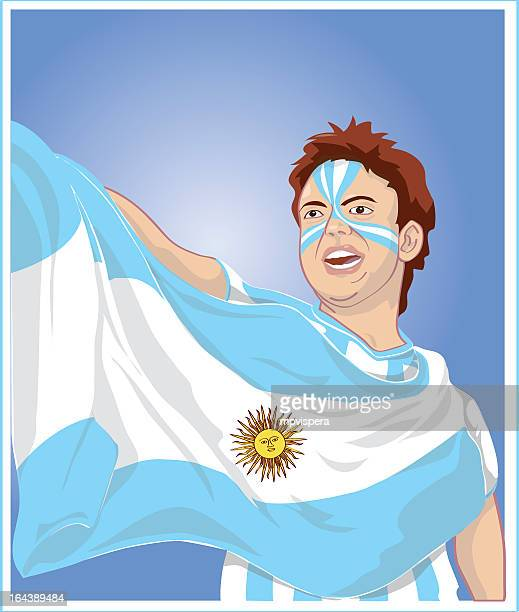 Fan with argentinian flag