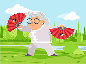 Fan wushu kungfu taichi fitness activities healthy granny adult old age woman character cartoon nature background flat design vector illustration