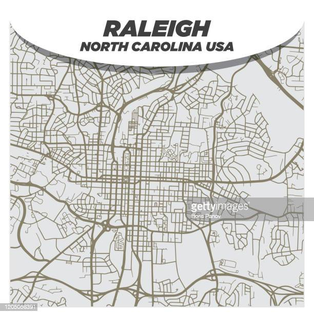 fancy and creative flat city street map of downtown raleigh north carolina - raleigh north carolina stock illustrations