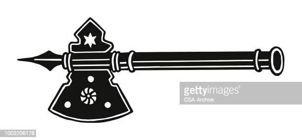 fancy ax - hatchet stock illustrations, clip art, cartoons, & icons