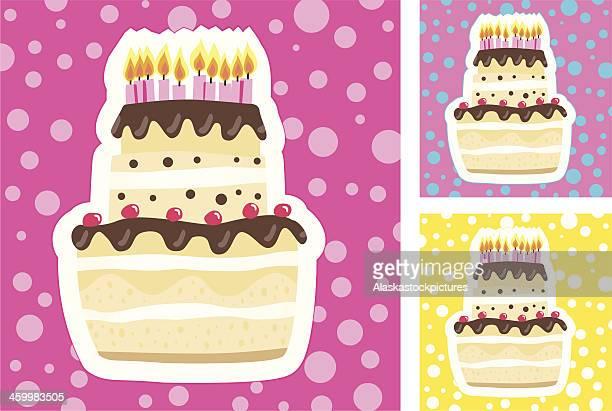illustrations, cliparts, dessins animés et icônes de fancy gâteau d'anniversaire (3colorvarios). - gateau anniversaire