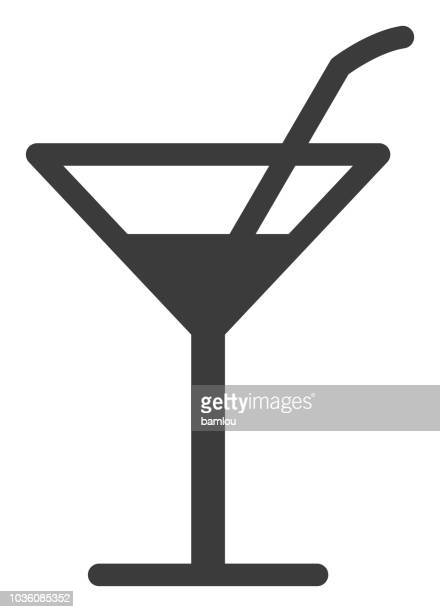 fancy drink with straw icon - scotch whiskey stock illustrations, clip art, cartoons, & icons