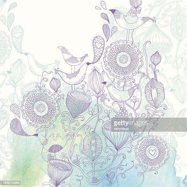 美しい花と鳥 - リーフ柄点のイラスト素材/クリップアート素材/マンガ素材/アイコン素材