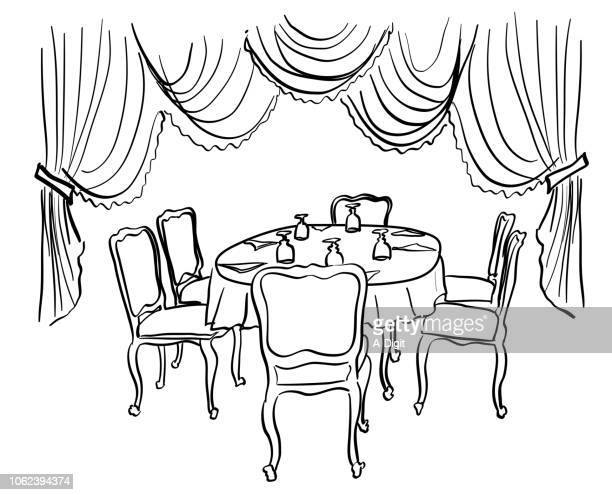 fancy french dining room - 1900 1909 stock illustrations