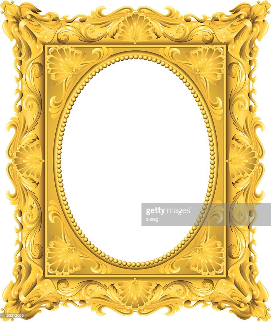 Fancy Gold Oval Frame Vector Art | Getty Images