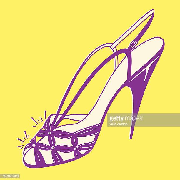 fancy high heel shoe - sandal stock illustrations, clip art, cartoons, & icons
