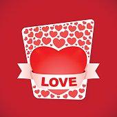 Fancy love card on dark red background.