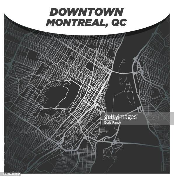 fancy luxurious silver street map of downtown montreal - montréal stock illustrations