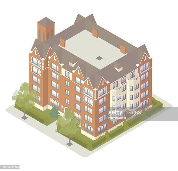 Fancy tudor apartment building illustration
