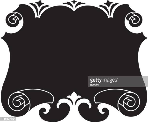 fancy vector scrolled panel - scrollen stock illustrations