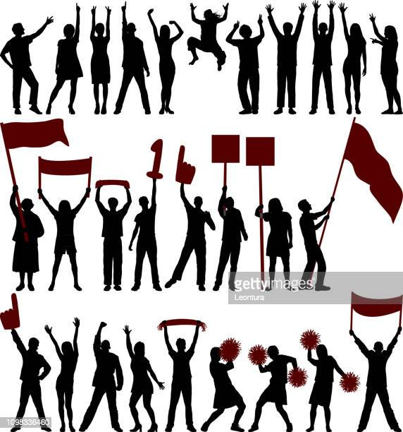 fans and protestors - fan enthusiast stock illustrations