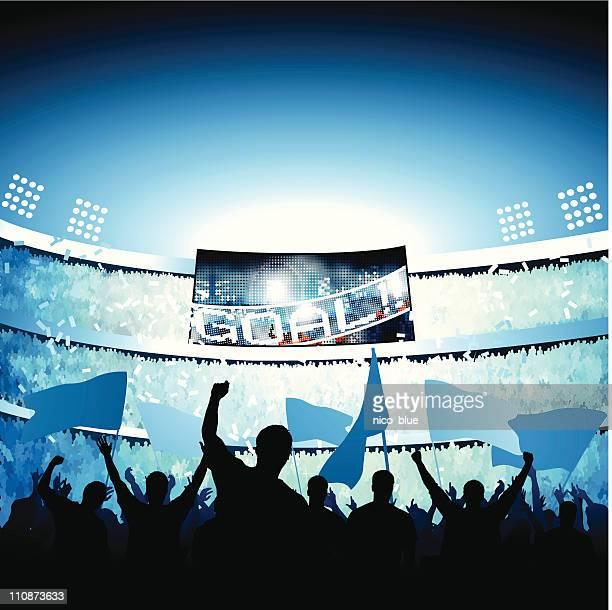 fans celebrating goal - scoreboard stock illustrations