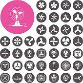 Fans icons set. Cooling icons. Illustration eps10
