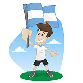 fans of soccer with argentina flag