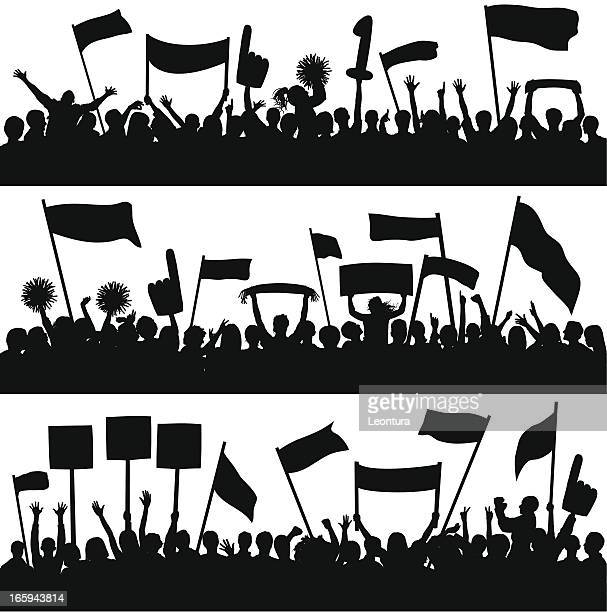 fans (79 complete people- a clipping path hides the legs) - protestor stock illustrations