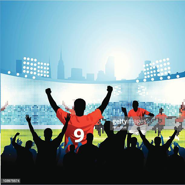 fans watching soccer match on large outdoor screen - fan enthusiast stock illustrations, clip art, cartoons, & icons