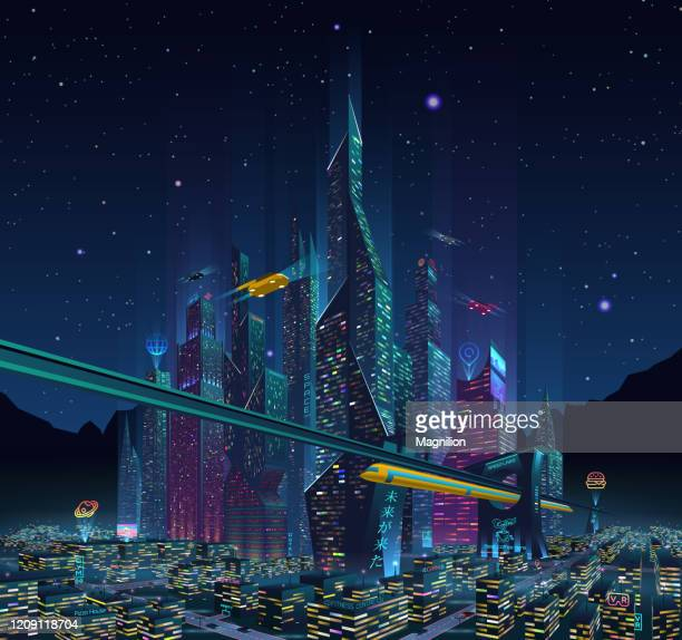 stockillustraties, clipart, cartoons en iconen met fantastische stad van de toekomstige stad 's nachts met neon light en billboards - futuristisch