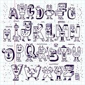 Fantastic Funny Alphabet. Wacky Doodle Letters Design Set.