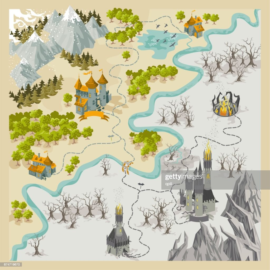 Fantasy Adventure map elements with colorful doodle hand draw in vector illustration