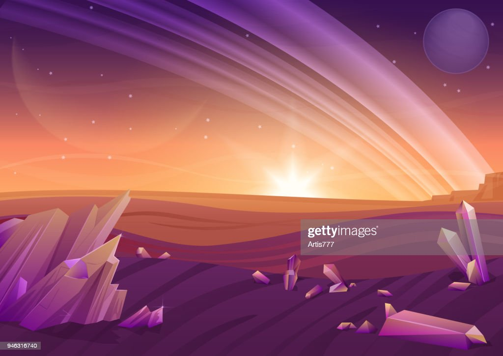 Fantasy alien landscape, another planet nature with rocks in fiels and planets in sky. Game design vector galaxy space background.