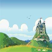 fantasy background with castle vector cartoon