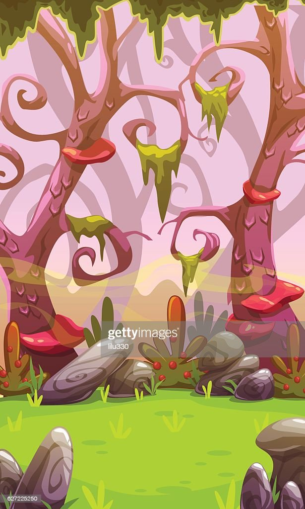 Fantasy cartoon forest landscape.