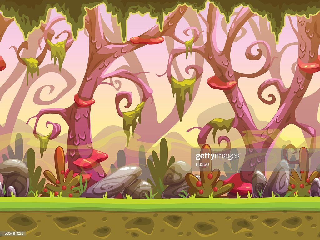 Fantasy cartoon forest seamless landscape