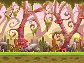 Fantasy cartoon forest seamless landscape